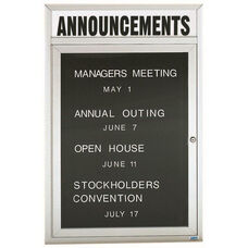 1 Door Outdoor Enclosed Directory Board with Header and Aluminum Frame - 48