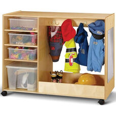 Wooden Double Sided Mobile Dress-Up Center with 6 Clear Plastic Tubs and 1 Clear Storage Tote with Lid - 48