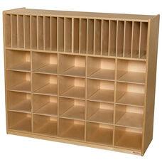 Wooden Multi-Storage Unit with 20 Brown Plastic Storage Trays - 48