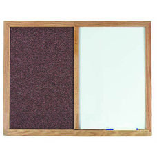 Mauve Fabric Tack Board Next to a Melamine Marker Board with Wood Frame