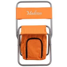 Embroidered Folding Camping Chair with Insulated Storage in Orange