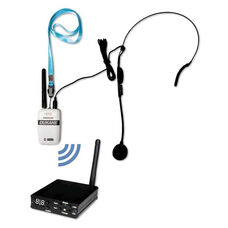 Wireless Microphone System with Lightweight Lanyard Held Transmitter and Attachable Mic