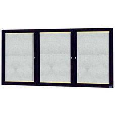 3 Door Outdoor Aluminum Framed Enclosed Bulletin Board with LED Lighting and Bronze Anodized Finish - 36