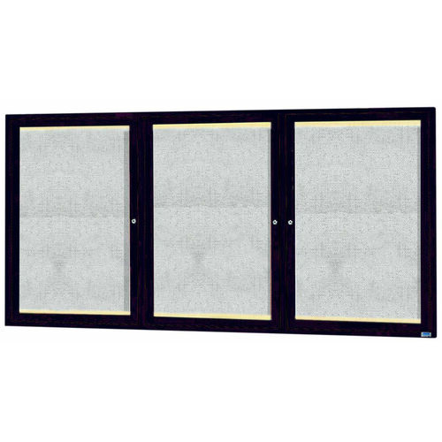 Our 3 Door Outdoor Aluminum Framed Enclosed Bulletin Board with LED Lighting and Bronze Anodized Finish - 36