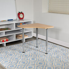 """Triangular Natural Collaborative Student Desk (Adjustable from 22.3"""" to 34"""") - Home and Classroom"""