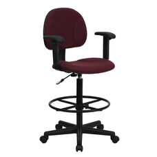Burgundy Fabric Drafting Chair with Adjustable Arms (Cylinders: 22.5