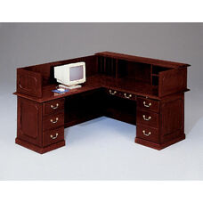 Governors Left Reception L Desk - Engraved Executive Mahogany