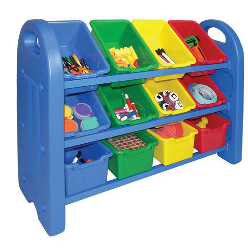 Our 3-Tier Storage Organizer with Built-in Handles and 12 Primary Colors Scoop-Front Bins is on sale now.