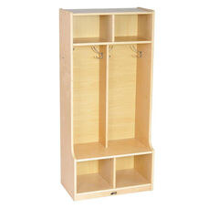 Birch Hardwood Two Section 4 Hook Coat Locker with Bench and 4 Cubbies - Natural