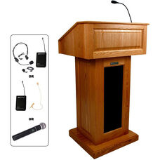 Victoria Wireless 150 Watt Sound and Hand Held Mic Lectern - Cherry Finish - 26.375