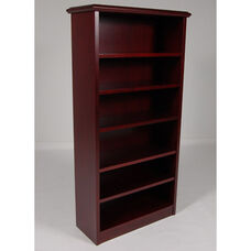 5-Shelf Wood Veneer Bookcase in Mahogany Finish