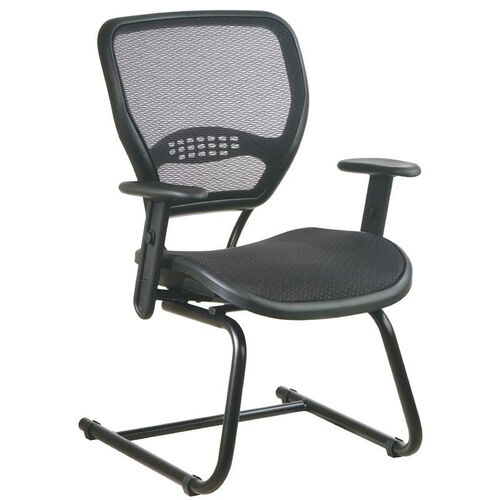 Space Air Grid Back and Seat Visitors Chair with Adjustable Arms and Sled Base - Black