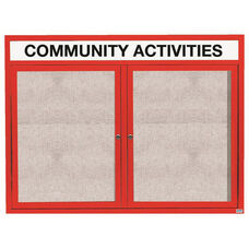 2 Door Outdoor Enclosed Bulletin Board with Header and Red Powder Coated Aluminum Frame - 48
