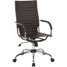 Ave Six Trinidad High Back Vinyl Office Chair with Chrome Base and Casters - Espresso
