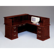 Governors Right Reception L Desk - Engraved Executive Mahogany