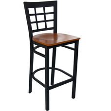 Advantage Window Pane Back Metal Bar Stool - Cherry Wood Seat