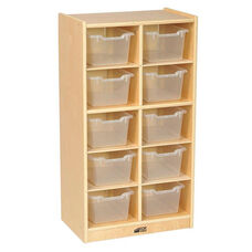 Birch 10 Cubby Tray Cabinet with 10 Clear Bins - 19.5