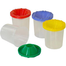 Plastic Paint Cups with Assorted Lids - Set of 12 - 2.75