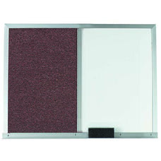 Mauve Fabric Tack Board Next to a Melamine Marker Board with Aluminum Frame
