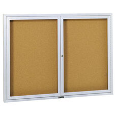 Revere Series Bulletin Board Cabinet with Nucork Panel and 2 Locking Tempered Glass Doors - 60
