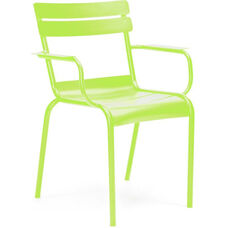 Chatou Lime Green Stackable Metal Side Chair with Arms - Set of 4
