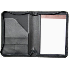 Zip Around Junior Writing Padfolio- Top Grain Nappa Leather - Black