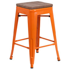 """24"""" High Backless Orange Metal Counter Height Stool with Square Wood Seat"""