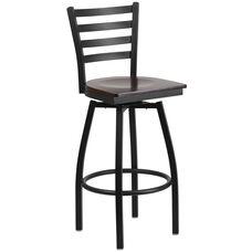 Black Metal Ladder Back Restaurant Barstool with Walnut Wood Swivel Seat