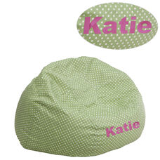 Personalized Small Green Dot Kids Bean Bag Chair