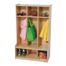 3-Section Seat Lockers with Two Coat Hooks in Each Section - Assembled - 30