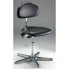 Stera Class 10 Clean Room Series Chair with Dark Charcoal Vinyl Conductive Seat - High Profile