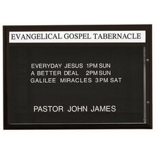 Single Sided Illuminated Community Board with Header and Black Powder Coat Finish - 42