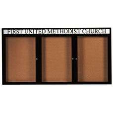 3 Door Indoor Enclosed Bulletin Board with Header and Black Powder Coated Aluminum Frame - 48