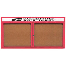 2 Door Indoor Enclosed Bulletin Board with Header and Red Powder Coated Aluminum Frame - 36