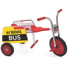 Silver Rider School Bus Trike with Spokeless Solid Rubber Wheels and Bus Sign - Red