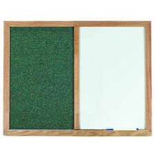 Green Fabric Tack Board Next to a Melamine Marker Board with Wood Frame