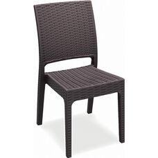 Florida Outdoor Wickerlook Resin Stackable Dining Chair - Brown