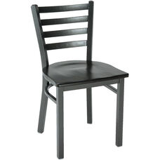 3300 Series Square Steel Frame Armless Cafe Chair with Contoured Ladder Back and Wood Seat