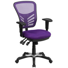 Mid-Back Purple Mesh Multifunction Executive Swivel Ergonomic Office Chair with Adjustable Arms