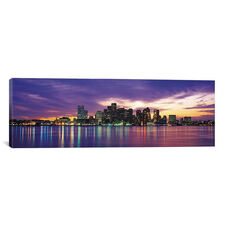Boston Panoramic Skyline Cityscape (Sunset) by Unknown Artist Gallery Wrapped Canvas Artwork