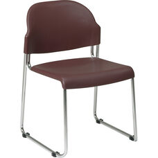 Work Smart Stack Chair with Plastic Seat and Back - Set of 2 - Burgundy