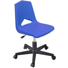 MG Series V-Back Height Adjustable Task Chair with 5 Star Base - Blue Seat - 25