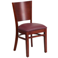 Mahogany Finished Solid Back Wooden Restaurant Chair with Burgundy Vinyl Seat