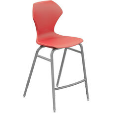Apex Series Plastic Height Adjustable Stool with Foot Rest - Red Seat and Gray Frame - 21