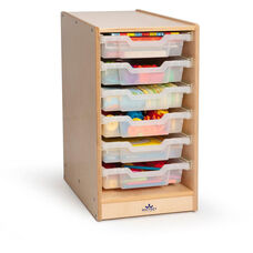 Clear Tray Birch Laminate Single Storage Cabinet with Casters