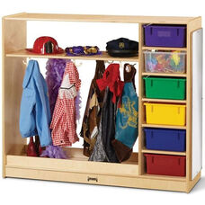 Wooden Dress-Up Storage Unit with 6 Multi-Colored Plastic Bins - 48