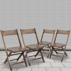 Slatted Wood Folding Special Event Chair - Antique Black, Set of 4