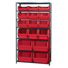 Magnum Shelving Unit with 16 Bins - Red
