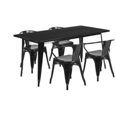 "Commercial Grade 31.5"" x 63"" Rectangular Black Metal Indoor-Outdoor Table Set with 4 Arm Chairs"