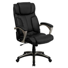 High Back Folding Black LeatherSoft Executive Swivel Office Chair with Arms